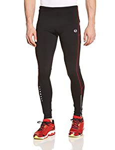 Ultrasport Herren Laufhose gefüttert mit Quick-Dry-Funktion lang, black red, S, 380100000185