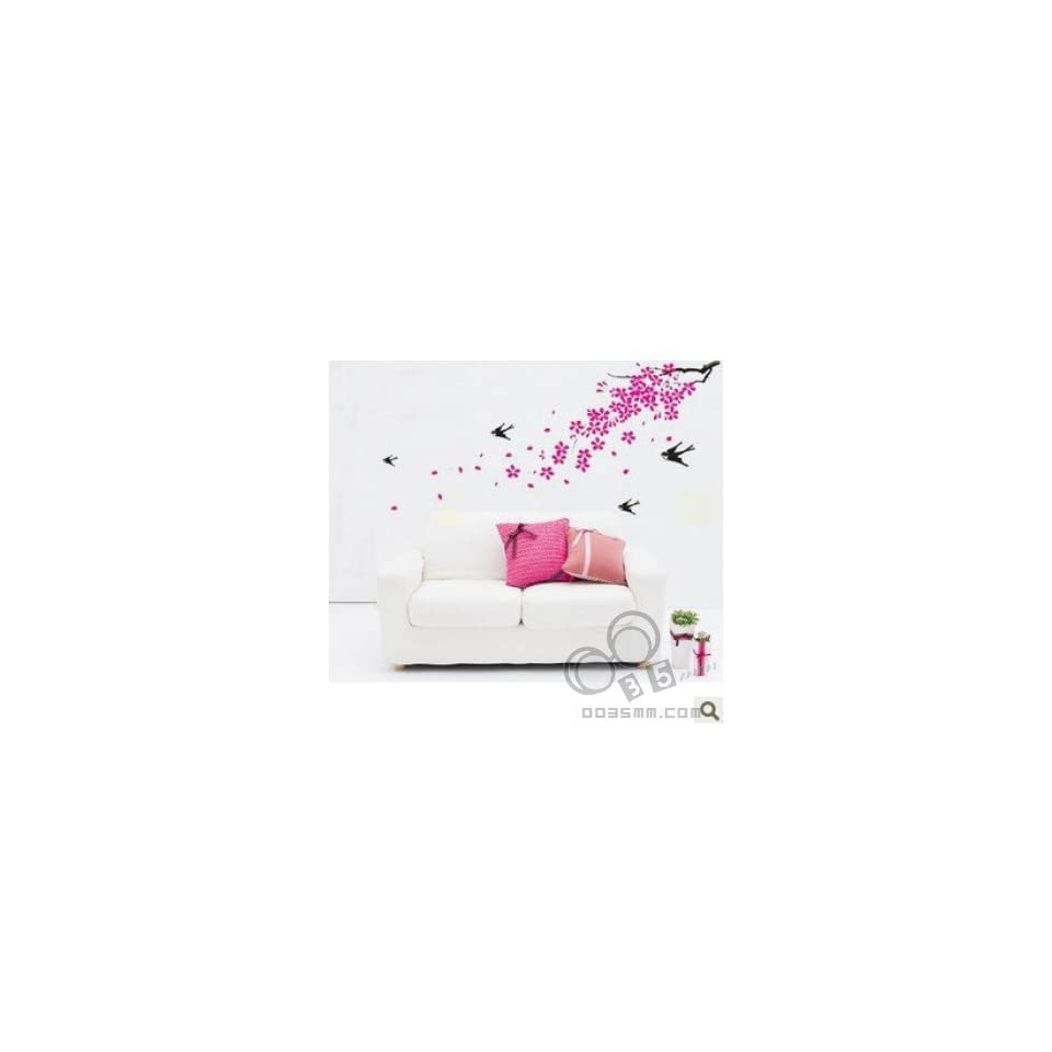 PINK FLOWER WALL PAPER DECAL DECO MURAL STICKER KR 0011