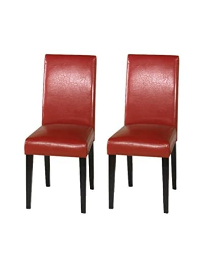 Armen Living Set of 2 Leather Side Chairs, Red