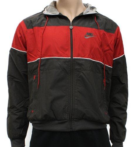 Nike Mens Sportswear Windrunner Jacket - Dark Brown,Red - Medium