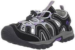Northside Burke II Ankle-Strap Sandal (Toddler/Little Kid/Big Kid),Black/Lilac,13 M US Little Kid