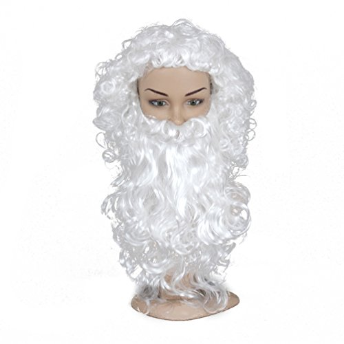 [SiYi Anime White Christmas Santa Synthetic Wigs Beard Moustache Set Costume Cosplay Wig] (Best Womens Comic Con Costumes)