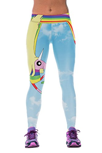Timemory Womens Cartoon Unicorn Printed Waistband Leggings Tights One