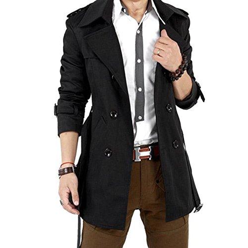SODIAL(R)Uomo cappotto d'inverno doppiopetto soprabito lungo Nero Taglia XL/US M