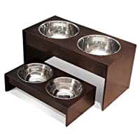 PetFusion Elevated Pet Bowl Holder in Solid Pine