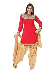 Ritu Creation Women's Party Wear Georgette Stitched Fancy Patyala Suit With Neck Heavy Moti Work(Peach)