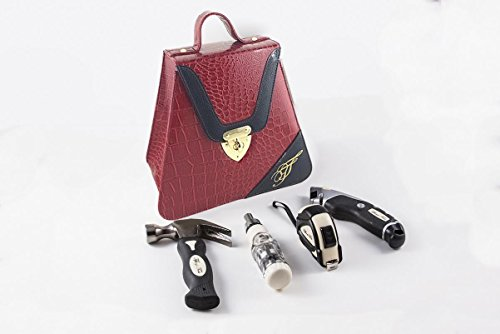 Red Contemporary Triangle 10 inch Womens Leather Turn-lock Case Home Tool Kit