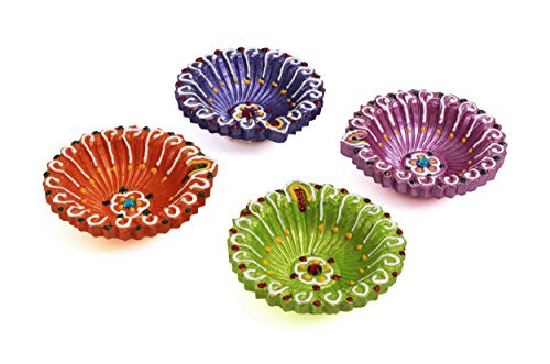 Festive Set Of 4 Multi-Colored Earthen Diwali Diyas Oil Lamps (3 X 1 Inches) (Multicolor)