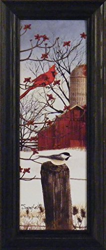 Snowfall by Billy Jacobs 9x21 Winter Birds Cardinal Chickadee Snow Red Barn Fence Post Seasons Framed Folk Art Print Picture (Cardinal Bird Pictures compare prices)
