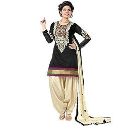 RajLaxmi Women's Fashion Black & Cream Georgette Dress Material