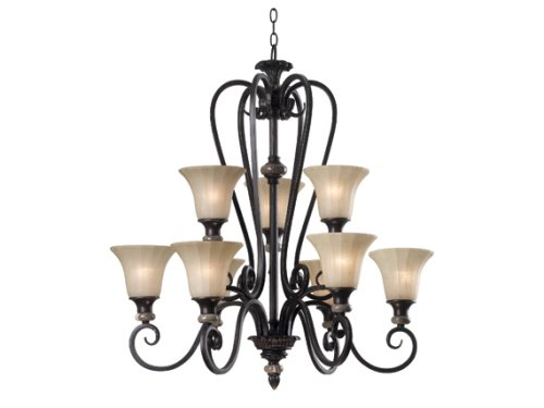 Kenroy Home 80299MBZ Leafston 9 Light Chandlelier, Mercury Bronze Finish with Brown Marble Accents
