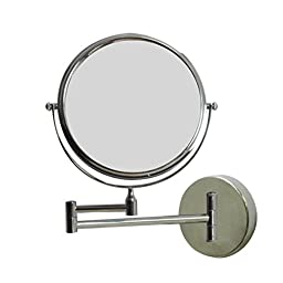 American Imaginations AI-13-645 Round Wall Mount Magnifying Makeup Mirror with Dual 1x/5x Zoom, 8-Inch, Chrome