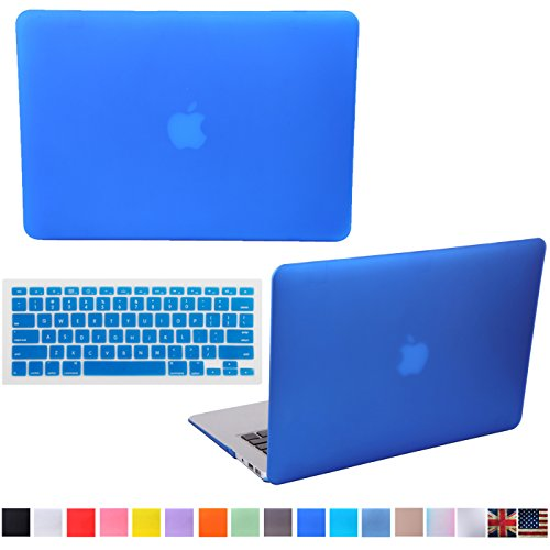 """HDE Matte Hard Shell Clip Snap-on Case + Matching Keyboard Skin for MacBook Pro 13"""" with Retina Display - Fits Model A1425 / A1502 (Blue)"""