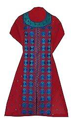 Phulkari Craft Women's Cotton Unstitched Kurti (PC0022_Red_Free Size)