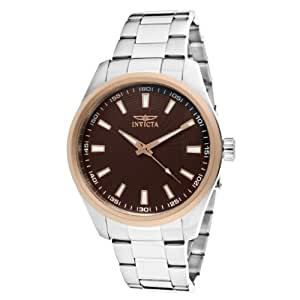 Invicta Specialty Men's Quartz Watch with Brown Dial Analogue Display and Silver Stainless Steel Bracelet 12827
