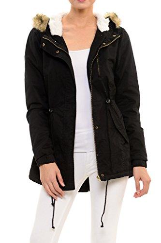 Womens Faux Fur Hoodie Sherpa Lined Military Safari Utility Fashion Parka Jacket Black M
