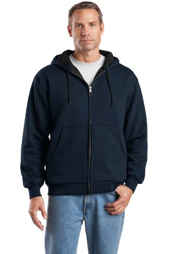 CornerStone Men's Heavyweight Full Zip Hooded Sweatshirt with Thermal L Navy