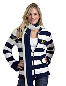 NCAA Michigan Wolverines Kashwere U Rugby Striped Hoodie by Kashwere U