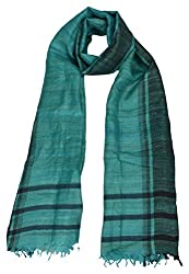Sumona and Me Women's Silk Dupatta (Turquoise and Blue)