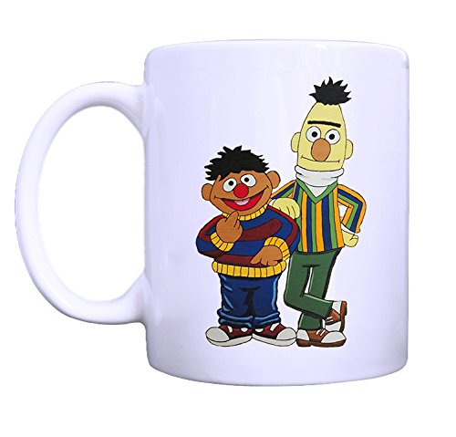 Sesame Street Bert and Ernie Image Designed White Ceramic Coffee Milk Mug Cup Printed on Both Sides 11 Oz