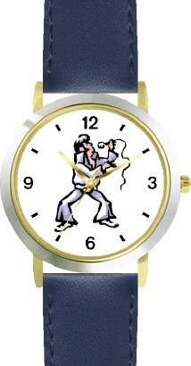 Singer Imitating a Famous Rock & Roll Star (Cartoon) - WATCHBUDDY® DELUXE TWO-TONE THEME WATCH - Arabic Numbers - Blue Leather Strap-Size-Large ( Men's Size or Jumbo Women's Size )