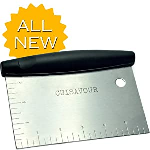Cuisavour's Deluxe Multi-Purpose Pastry Scraper Chopper & Ruler - Professional Stainless Steel Bench Knife Cutter with Non-Slip Handle - Perfect Crimper and Cutting Tool for Chef- Kitchen Accessories & Baking Utensils Gift Set - Dough Cutter Knife with Me
