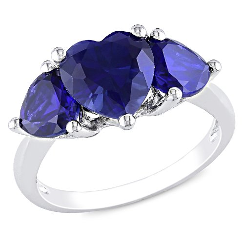 Sterling Silver 4 1/10 CT TGW Created Sapphire Fashion Ring