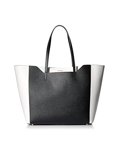 Furla Women's Fantasia M Tote East/West Vit. Stampa Ariel Double, Onyx, One Size