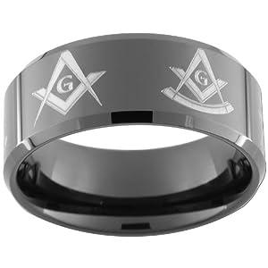 10mm Black Tungsten Carbide Freemason Masonic Square and Compass Past Master Rings size 5