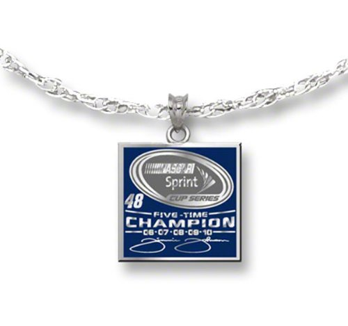 Logoart Jimmie Johnson 2010 Sprint Cup Champion Sterling Silver Enameled Pendant Necklace