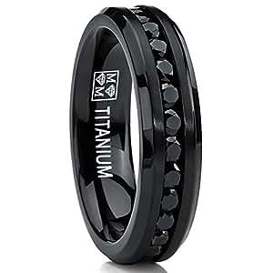 Amazon 6MM Black Womens Eternity Titanium Ring Wedding Band W Black Cubic Zirconia Jewelry