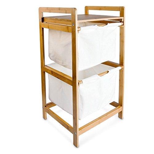 Wäschesammler LINEA Bambus H x B x T: ca. 73 x 37 x 33 cm Wäschekorb mit 2 Fächern als Ablage als praktischer Wäschepuff aus waschbarem Leinen zum Herausziehen mit seitlichen Griffen, natur
