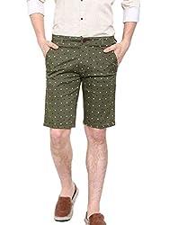 Showoff Men's Brown Slim Fit Printed Casual Chino Shorts