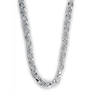 Mens Oval Claw Link Chain in Sterling Silver