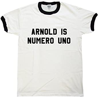 As Worn By Arnold Schwarzenegger T shirt - Numero Uno - S - White & black ringer