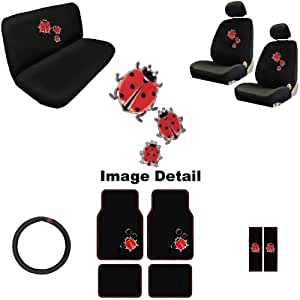 15 piece auto interior gift set spring red ladybugs and bubbles a set of 2 seat. Black Bedroom Furniture Sets. Home Design Ideas