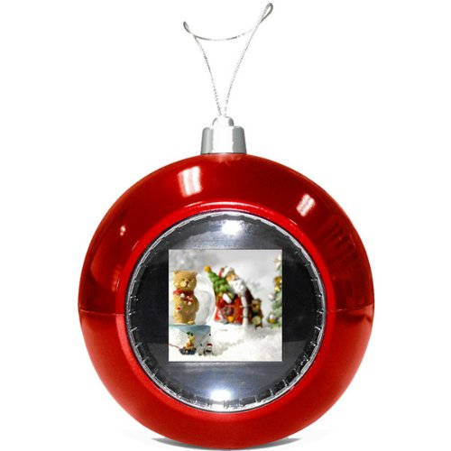Digital Photo Red Christmas Ball Ornament With USB Cable 2 MB Memory