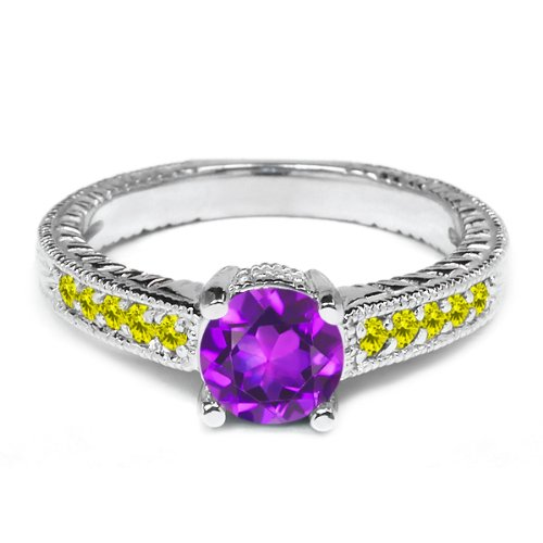 0.92 Ct Round Purple Amethyst Canary Diamond 925 Sterling Silver Engagement Ring