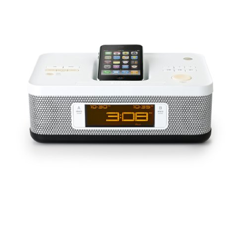 Memorex MI4703P Dual Alarm Clock Radio for iPod and iPhone (White)