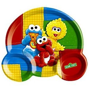 Sesame Street 1st Birthday Plastic Kid Plate (Baby Sesame Street Party Supplies)