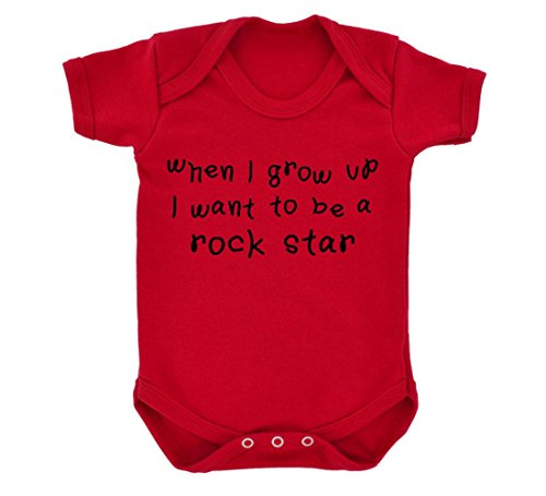 When I Grow Up I Want To Be A Rock Star Baby-Costume intero con stampa, colore: rosso rosso 6 mesi