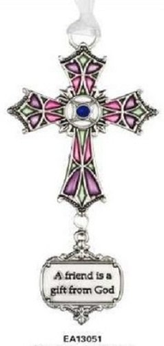 Ganz A Friend Is A Gift From God Stained Glass Cross Ornament Size: 3 1/2 inches