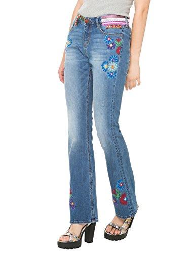 Desigual Ethnic Flare-Jeans Donna    Blau (DENIM MEDIUM WASH 5053) W26