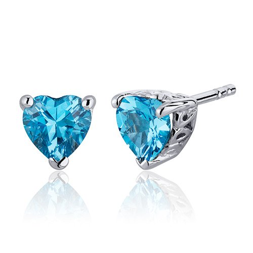 Revoni- 2.00 Carats Swiss Blue Topaz Heart Shape Stud Earrings in Sterling Silver