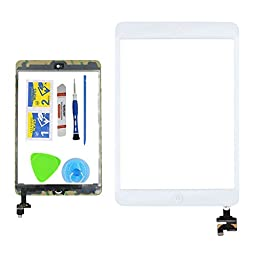 Monkey White Replacement Screen Touch Screen Digitizer For iPad Mini 1 & 2 With IC Chip Home Button and Flex Cable Assembly+Tool kit