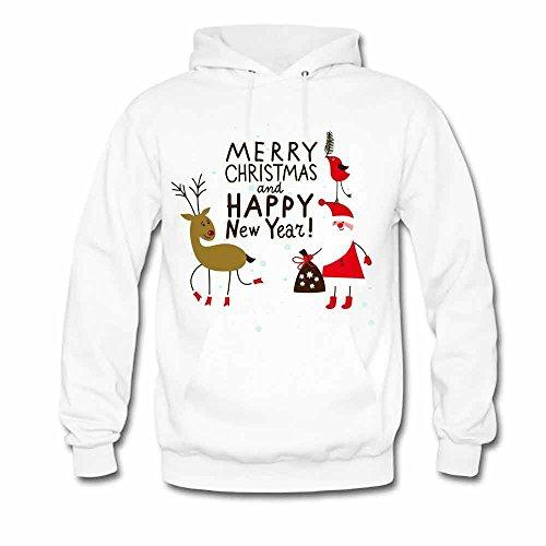 Men's Hoodies Reindeer and Santa Merry Christmas and Happy New Year Sweatshirts XXXL