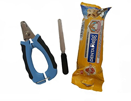 PEDIGREE-DENTAFLEX + Nail Clipper + LIMA. Snack per cani per l'alito fresco e l'igiene orale, più pulizia e la cura delle unghie dei nostri animali domestici.