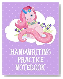 Handwriting Practice Notebook For Girls - A pink unicorn on a white cloud against a purple polka dot background makes a cute cover for this handwriting practice notebook for younger girls.