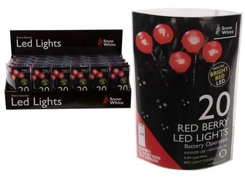 20 Red Berry Led Battery Operated Christmas Lights