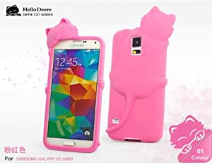 'Hello Deere' Lovely 3D Cat Cartoon Soft Shell Case with Earphone Jack Dust Cover for Samsung Galaxy i9600 S5...